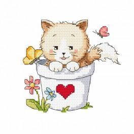 Kanwa z nadrukiem - Kotek w doniczce
