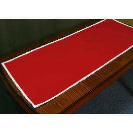 Bieżnik Aida z koronką 40x90 cm czerwony
