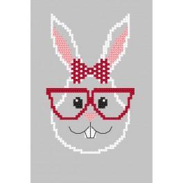 Wzór graficzny – Kartka - Hipster rabbit girl