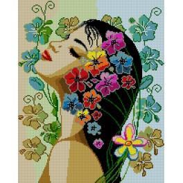 6104 Kanwa z nadrukiem - Kwiaty we włosach