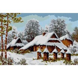 Kanwa z nadrukiem - Ule w zimie