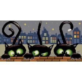 Kanwa z nadrukiem - Trzy kotki
