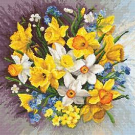 Zestaw z nadrukiem i muliną - Kwiaty wiosny