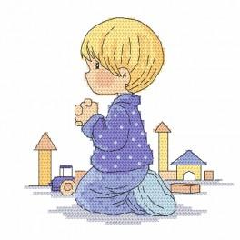 Zestaw z nadrukiem i muliną - Modlitwa chłopczyka