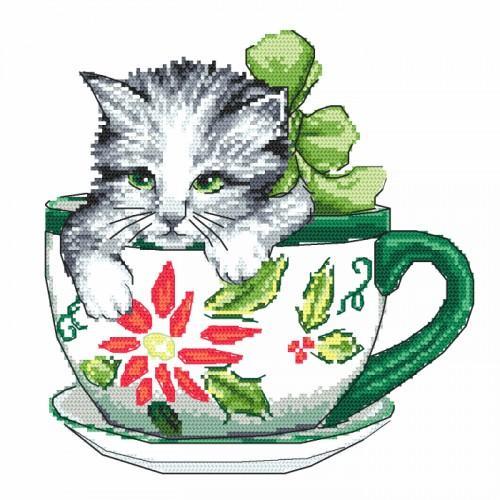 Zestaw z nadrukiem i muliną - Kotek w filiżance