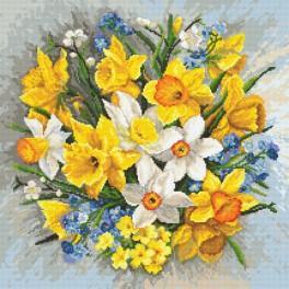 Zestaw z nadrukiem i muliną - Kwiaty wiosny II