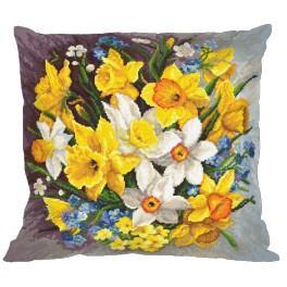 Zestaw z muliną i poszewką - Poduszka - Kwiaty wiosny