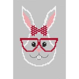 Wzór graficzny online – Kartka - Hipster rabbit girl