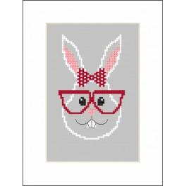 Zestaw z muliną i kartką - Hipster rabbit girl