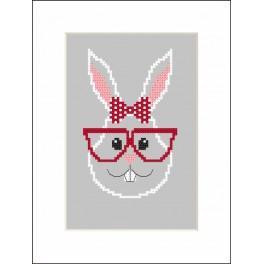 Zestaw z muliną i koralikami - Kartka - Hipster rabbit girl