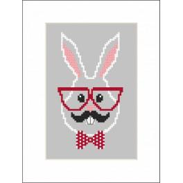 ZI 8901 Zestaw do haftu z muliną i koralikami - Kartka - Hipster rabbit boy