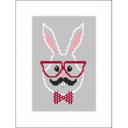 Zestaw z muliną i koralikami - Kartka - Hipster rabbit boy