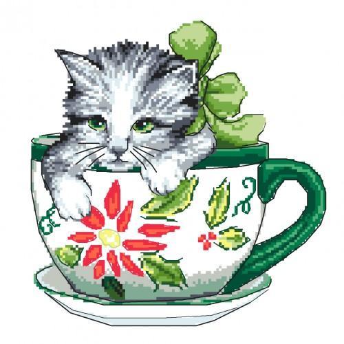 Kanwa z nadrukiem - Kotek w filiżance