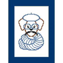 Wzór graficzny -Kartka- Hipster dog boy II