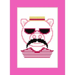 Wzór graficzny online - Kartka - Hipster pig boy
