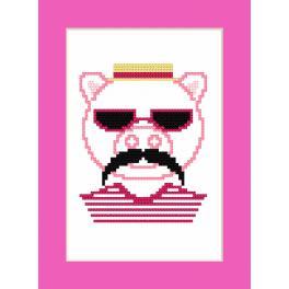 Wzór graficzny - Kartka - Hipster pig boy