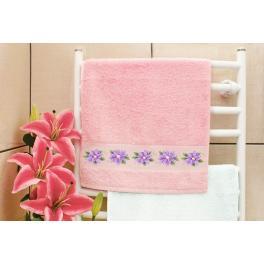 Zestaw z muliną - Ręcznik z klematisem