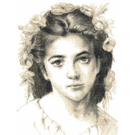 Zestaw z nadrukiem i muliną - Dziewczyna wg W.Bouguereau