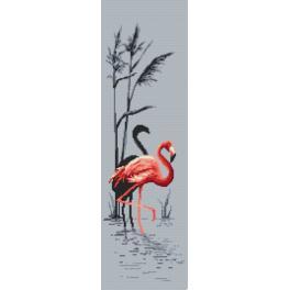 Zestaw z nadrukiem i muliną - Różowy flaming
