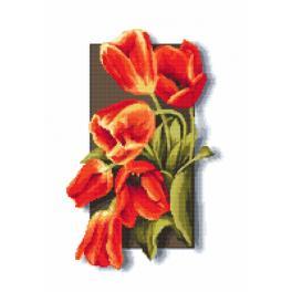 Zestaw z nadrukiem i muliną - Tulipany 3D