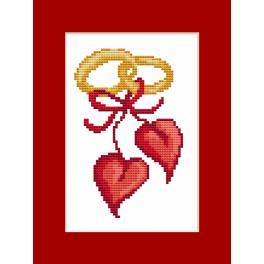 Zestaw z koralikami i kartką - Kartka - Ślubne serca