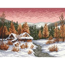 Kanwa z nadrukiem - Zimowy wieczór - S. Sikora
