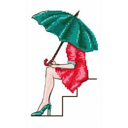 Zestaw z nadrukiem i muliną - Zielona parasolka
