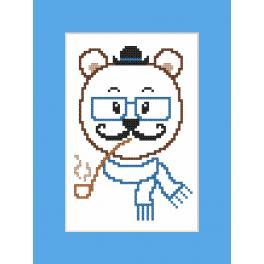 Zestaw z muliną i kartką - Kartka - Hipster bear boy