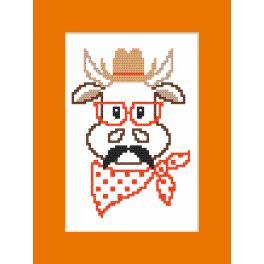 Wzór graficzny – Kartka - Hipster cow boy