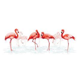 Zestaw z nadrukiem i muliną - Rodzina flamingów