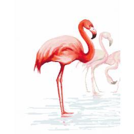 Zestaw z nadrukiem i muliną - Tryptyk z flamingami - lewy