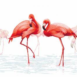 Kanwa z nadrukiem - Tryptyk z flamingami - środkowy
