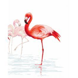 Zestaw z nadrukiem i muliną - Tryptyk z flamingami - prawy