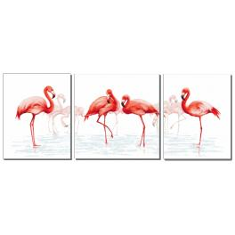 Zestaw z muliną i koralikami - Tryptyk z flamingami