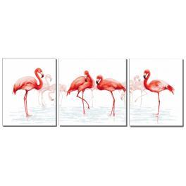 Kanwa z nadrukiem - Tryptyk z flamingami