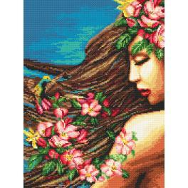 K 4384 Kanwa z nadrukiem - Kwiaty we włosach