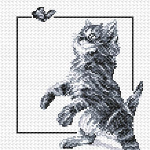 Aida z nadrukiem - Kotek i motylek