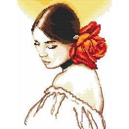 Zestaw z nadrukiem i muliną - Kobieta z różą