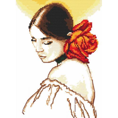 Zestaw z muliną - Kobieta z różą