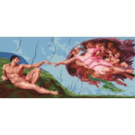Kanwa z nadrukiem - Stworzenie Adama - Michał Anioł