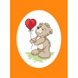 Zestaw z muliną i kartką - Kartka okolicznościowa - Miś z balonikiem