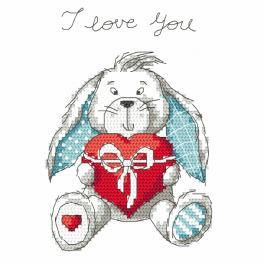 ZN 8758 Zestaw do haftu z nadrukiem - Zabawny zajączek - I love you