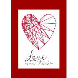 Zestaw z muliną i kartką - Kartka okolicznościowa - Serce