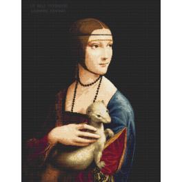 Zestaw z nadrukiem i muliną - Dama z gronostajem - Leonardo da Vinci