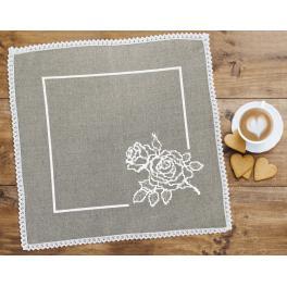 Wzór graficzny - Serwetka lniana z różą