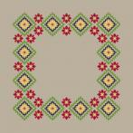 Zestaw z muliną i serwetką - Serwetka lniana etniczna III