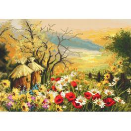 Kanwa z nadrukiem - Ogródek z ulami