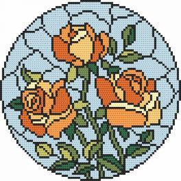 Zestaw z nadrukiem i muliną - Witraż - Róże