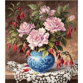 Zestaw z muliną - Róże i fuksje