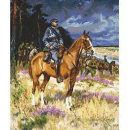 Kanwa z nadrukiem - Piłsudski na Kasztance